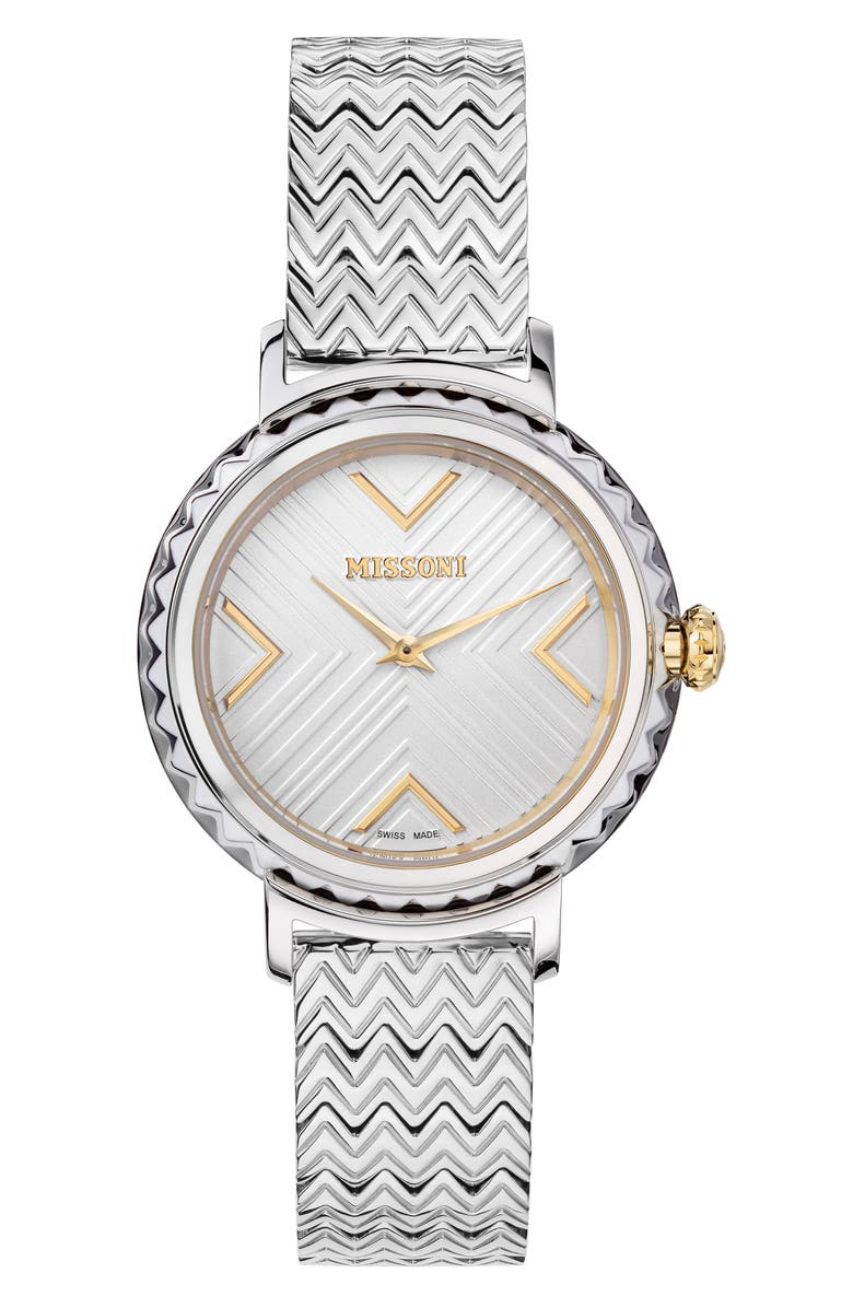 MISSONI Chevron Joyful Bracelet Watch, 37mm, Main, color, STAINLESS STEEL / SILVER