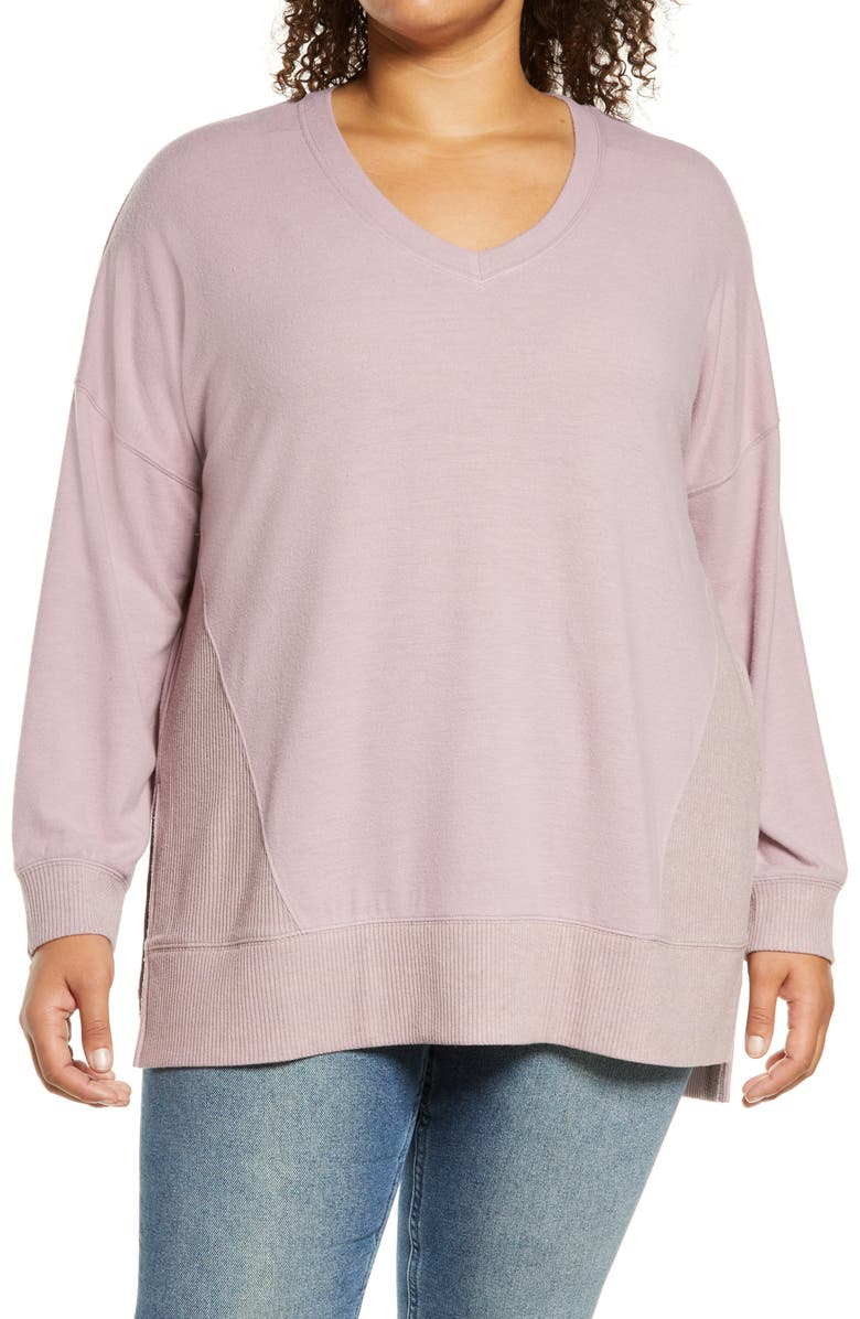 MELLODAY V-Neck Cozy Top, Main, color, LILAC