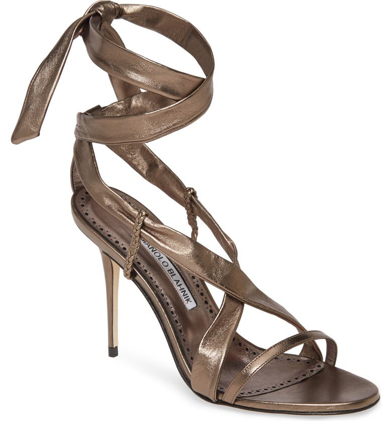 MANOLO BLAHNIK Tor Metallic Ankle Wrap Sandal, Main, color, 041