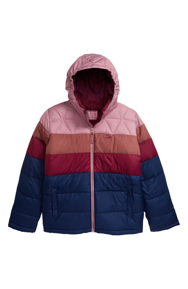 L.L.BEAN Kids' Water Resistant Hooded Down Puffer Jacket, Main, color, MAUVE BERRY