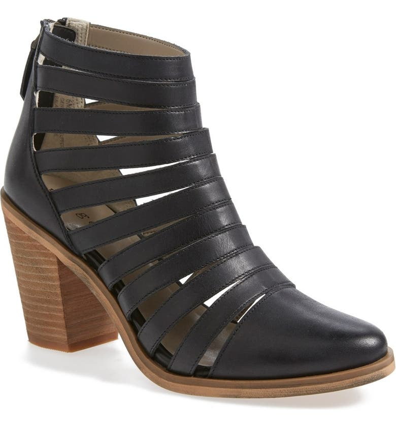 HINGE 'Dresden' Caged Leather Bootie, Main, color, Black