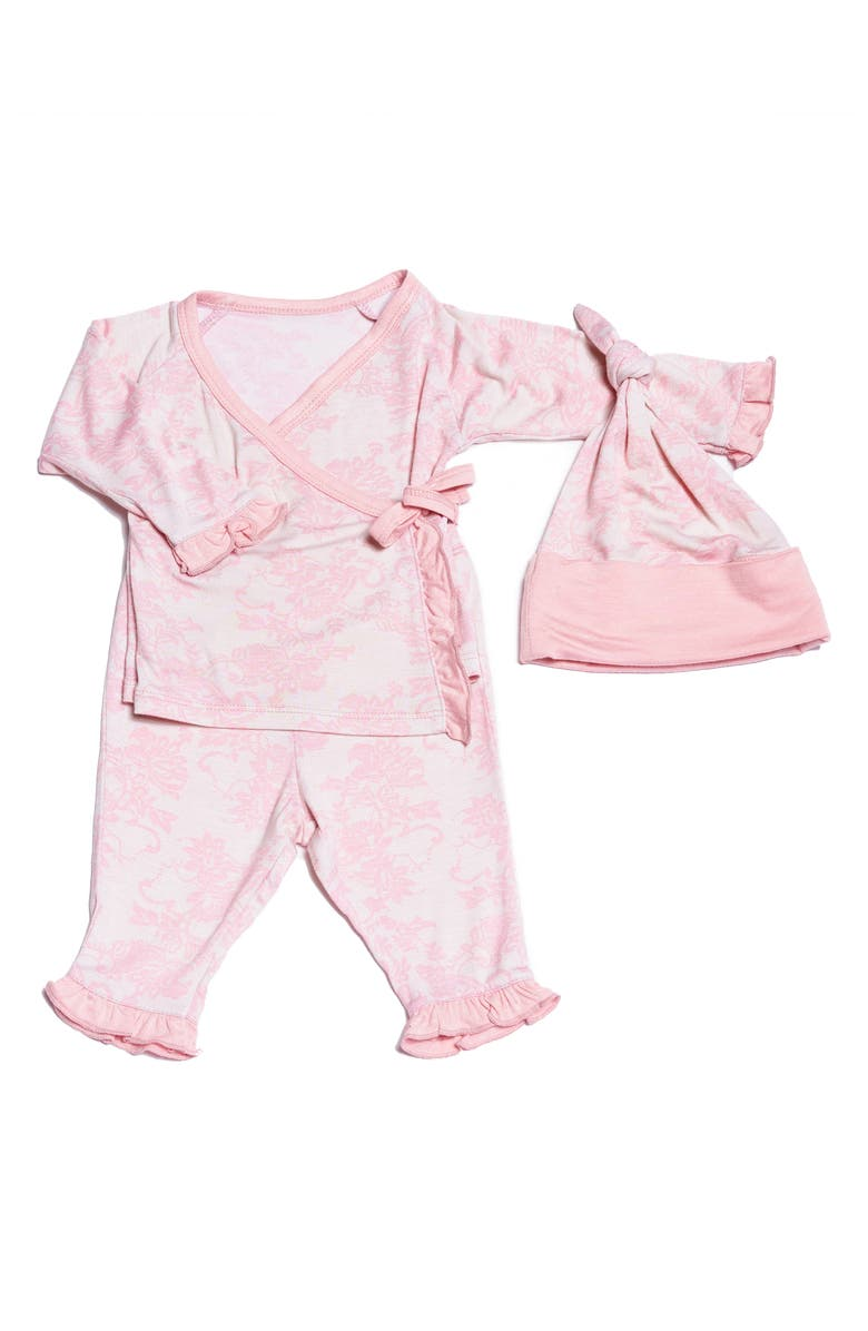 BABY GREY BY EVERLY GREY Floral Wrap Top, Pants & Knotted Hat Set, Main, color, 682