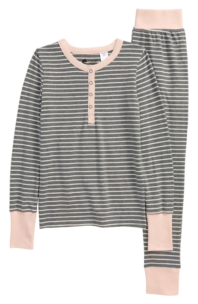 TREASURE & BOND Kids' Printed Henley Fitted Two-Piece Pajamas, Main, color, 021
