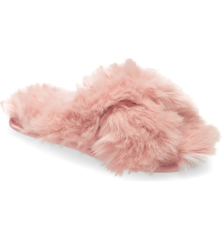 RACHEL PARCELL Faux Fur Slipper, Main, color, PINK SILVER