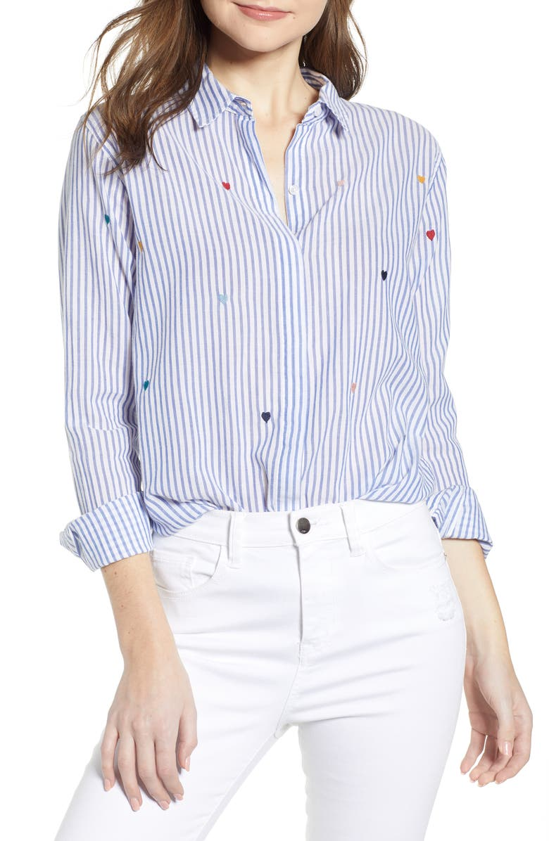 RAILS Taylor Embroidered Stripe Shirt, Main, color, 400