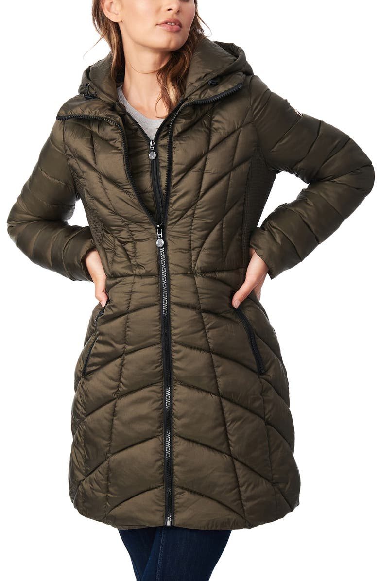 BERNARDO Mixed Quilt Ecoplume<sup>™</sup> Packable Hooded Puffer Jacket, Main, color, DRIED BASIL
