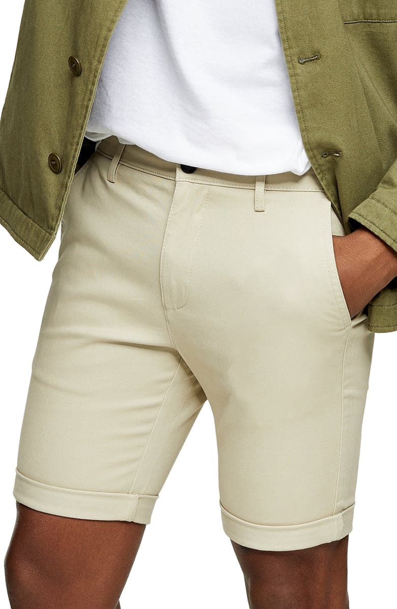 TOPMAN Stretch Skinny Chino Shorts, Main, color, BEIGE