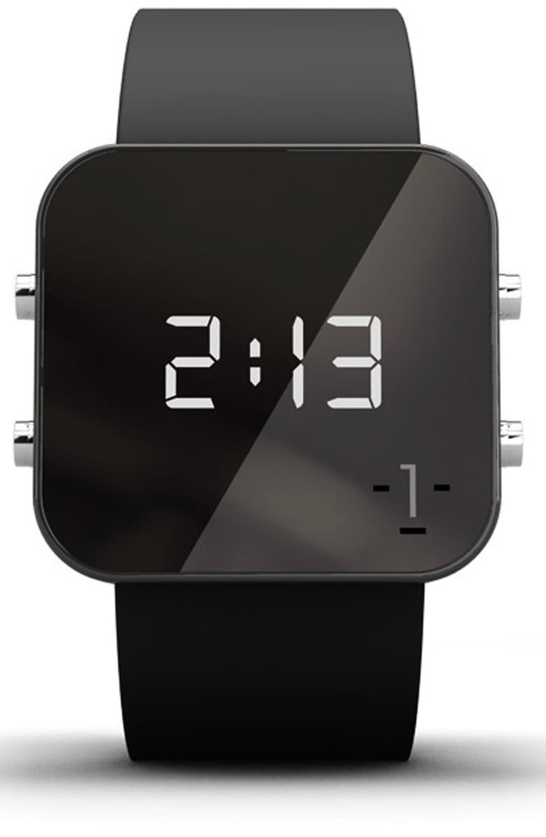 1:FACE 'Cancer' Square Digital Silicone Strap Watch, 38mm, Main, color, 001
