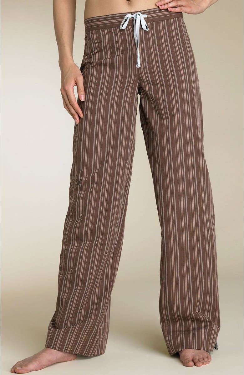 SHIMERA Tie Front Woven Sleep Pants, Main, color, BROWN STRIPE