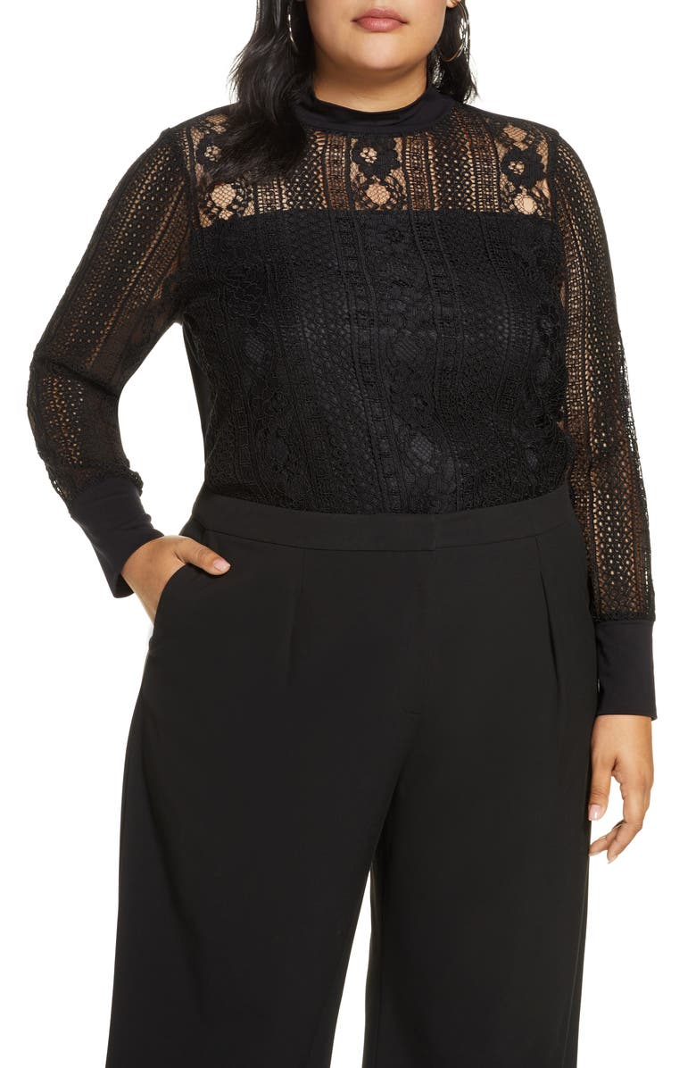 HALOGEN<SUP>®</SUP> Lace Mock Neck Long Sleeve Top, Main, color, 001