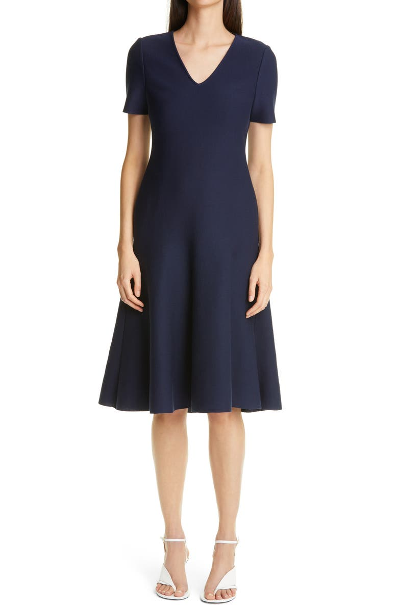 ST. JOHN COLLECTION V-Neck Milano Knit Fit & Flare Dress, Main, color, NAVY