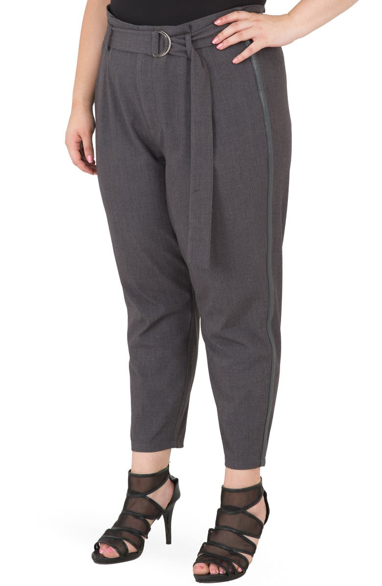 STANDARDS & PRACTICES Marina Belted Paperbag Waist Trousers, Main, color, 020