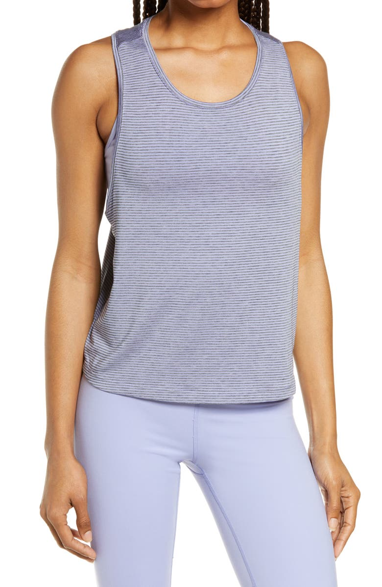 ZELLA Work For It Stripe Tank Top, Main, color, BLUE THISTLE