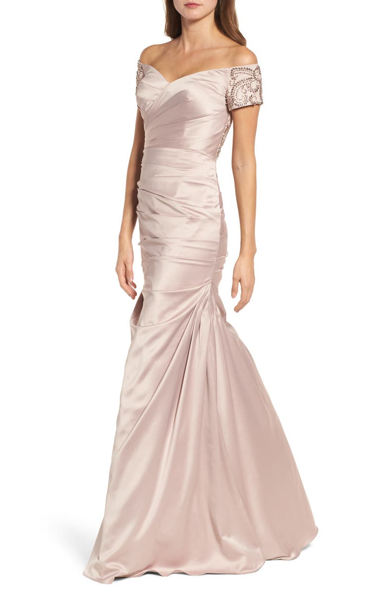 LA FEMME Off the Shoulder Beaded Satin Trumpet Gown, Main, color, CHAMPAGNE