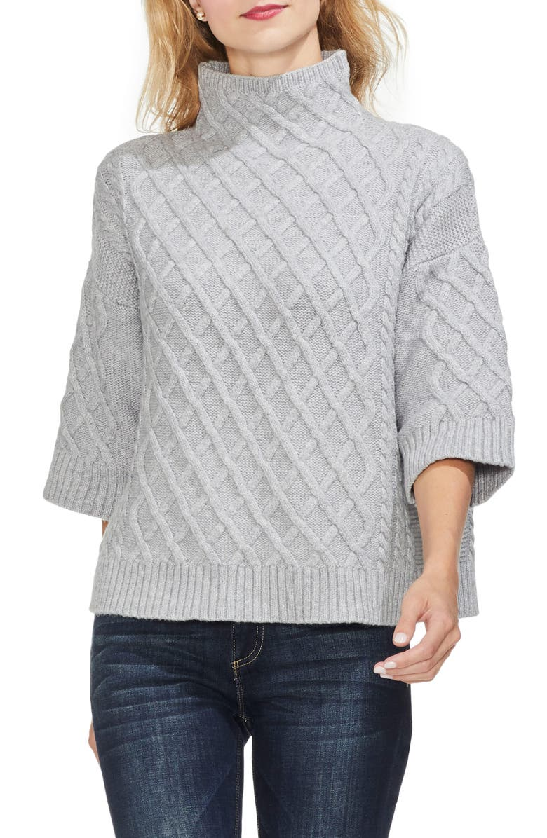 VINCE CAMUTO Cable Stitch Funnel Neck Sweater, Main, color, 078