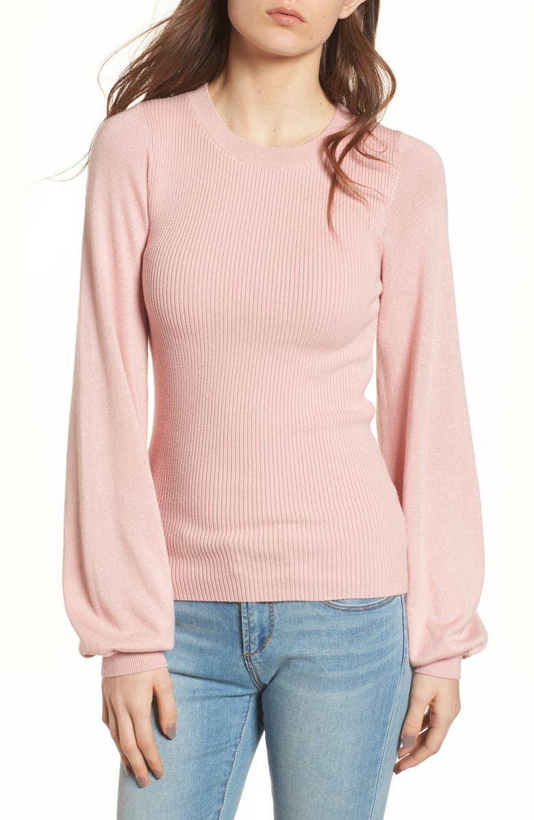 BP. Corset Knit Sweater, Main, color, PINK SILVER
