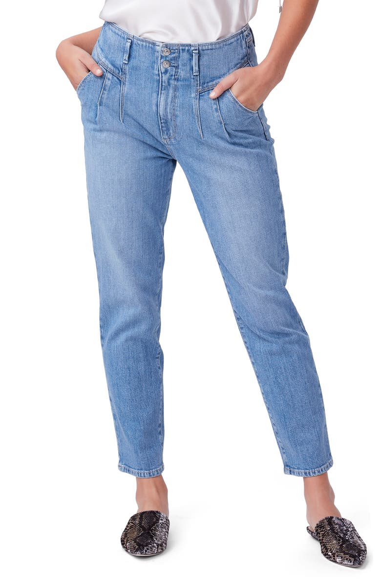 PAIGE Sarah Front Pleat Ankle Straight Leg Jeans, Main, color, RUMEE