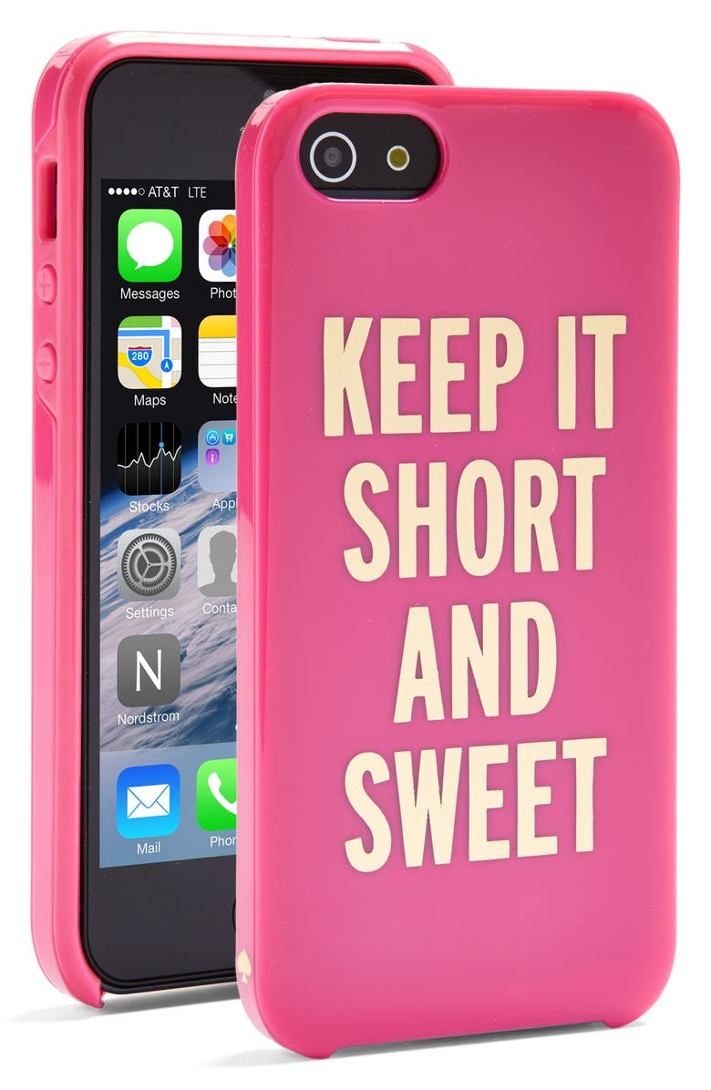 KATE SPADE NEW YORK 'keep it short and sweet' iPhone 5 & 5s case, Main, color, 650