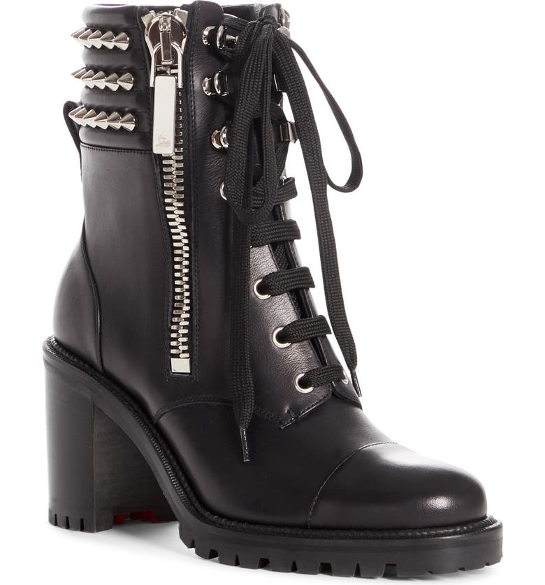 CHRISTIAN LOUBOUTIN Winter Spikes Lace-Up Boot, Main, color, Black