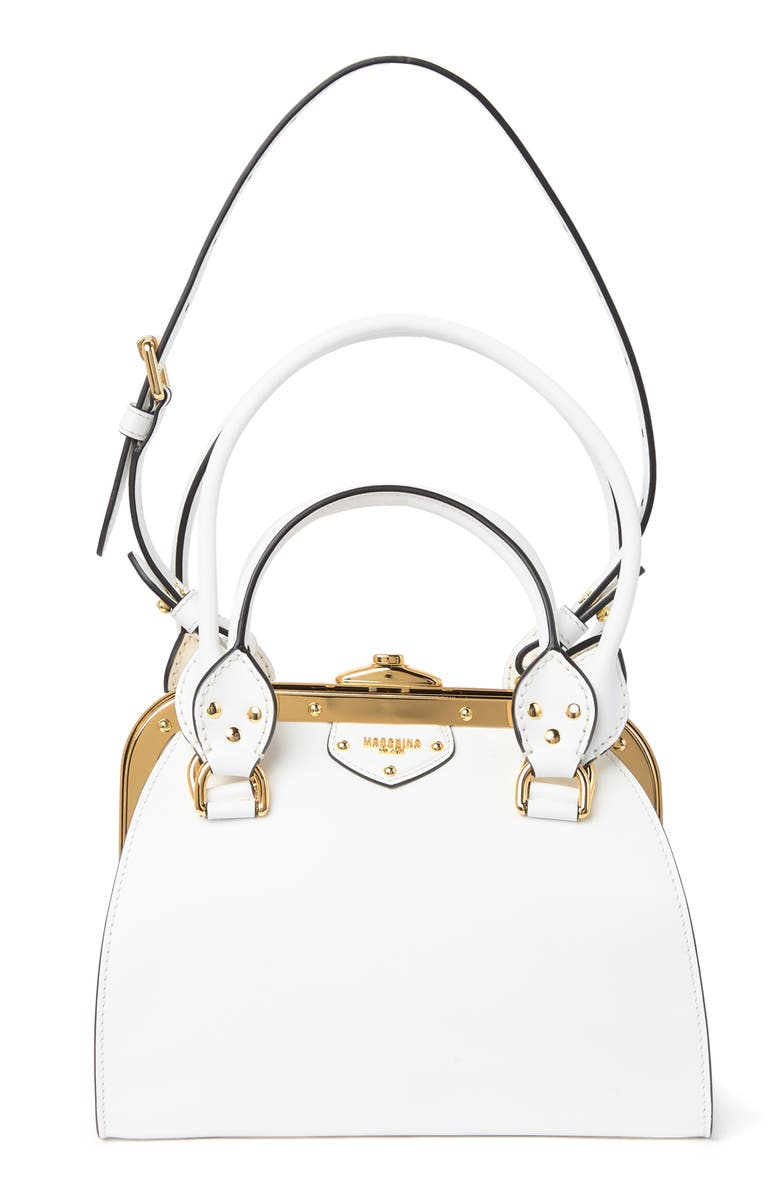 MOSCHINO Multi-Handle Leather Shoulder Bag, Main, color, WHITE