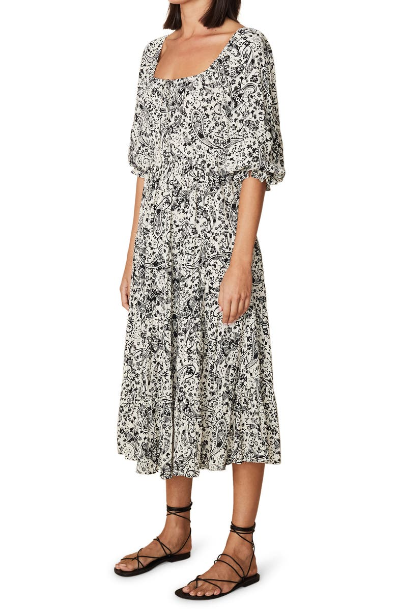 FAITHFULL THE BRAND Elbow Sleeve Paisley Crepe Dress, Main, color, ARTEMIS PAISLEY PRINT
