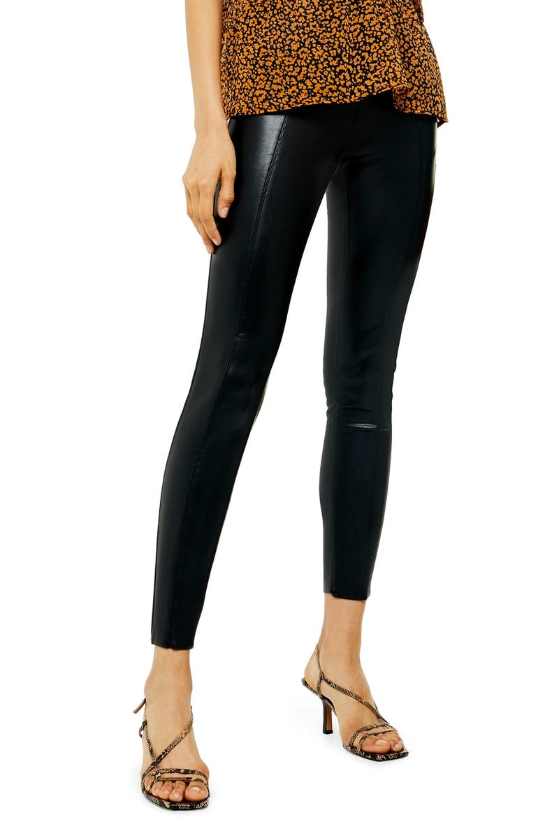 TOPSHOP Piper Faux Leather Skinny Leggings, Main, color, 001