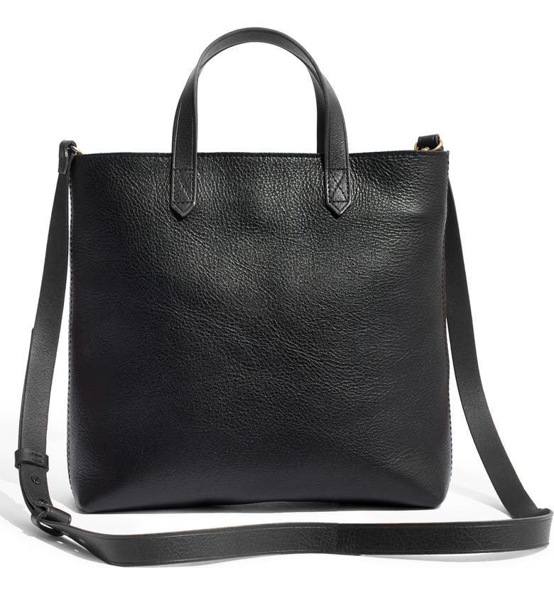 MADEWELL Small Transport Leather Crossbody Tote, Main, color, TRUE BLACK