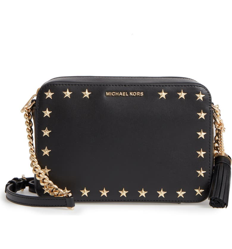 MICHAEL MICHAEL KORS Medium Ginny Star Studded Leather Crossbody Camera Bag, Main, color, 001