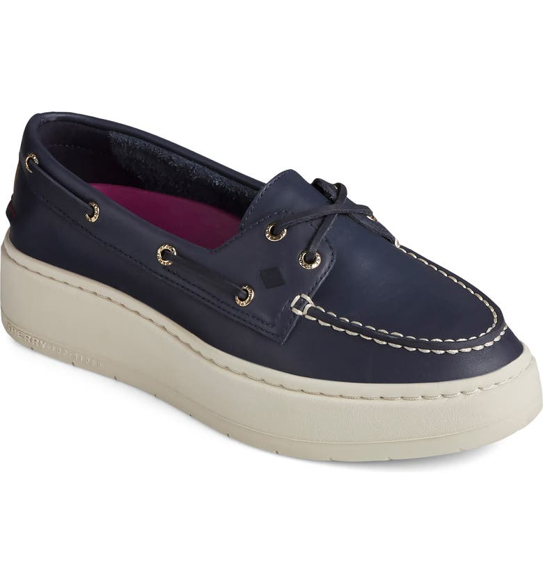 SPERRY TOP-SIDER Sperry Authentic Original Platform Boat Shoe, Main, color, NAVY LEATHER