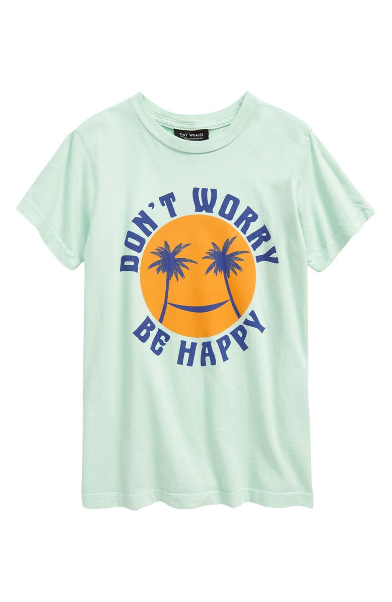 TINY WHALES Kids' Don't Worry Graphic Tee, Main, color, SEAFOAM