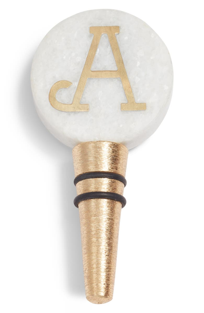 NORDSTROM Monogram Marble Bottle Stopper, Main, color, 100