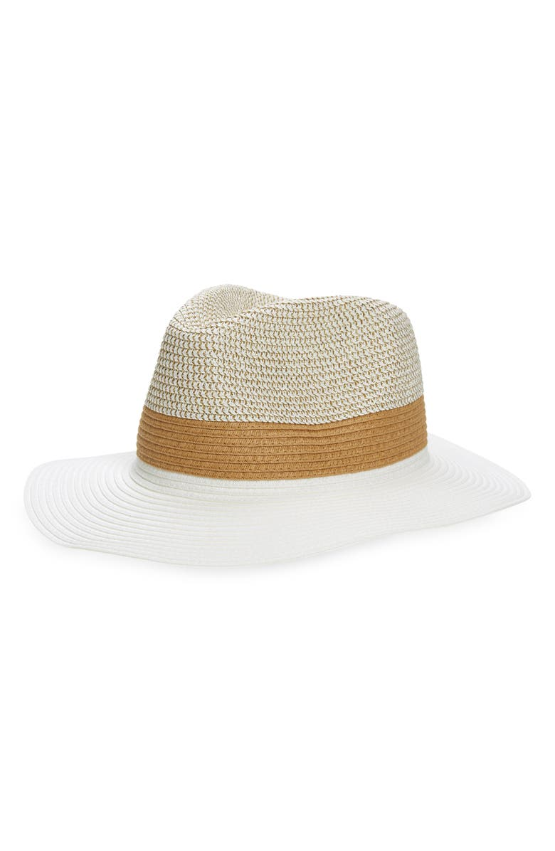 SOLE SOCIETY Colorblock Straw Hat, Main, color, White