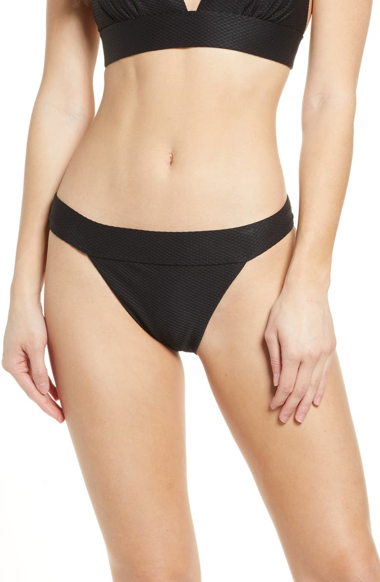 CHELSEA28 Banded Textured Bikini Bottoms, Main, color, NO_COLOR