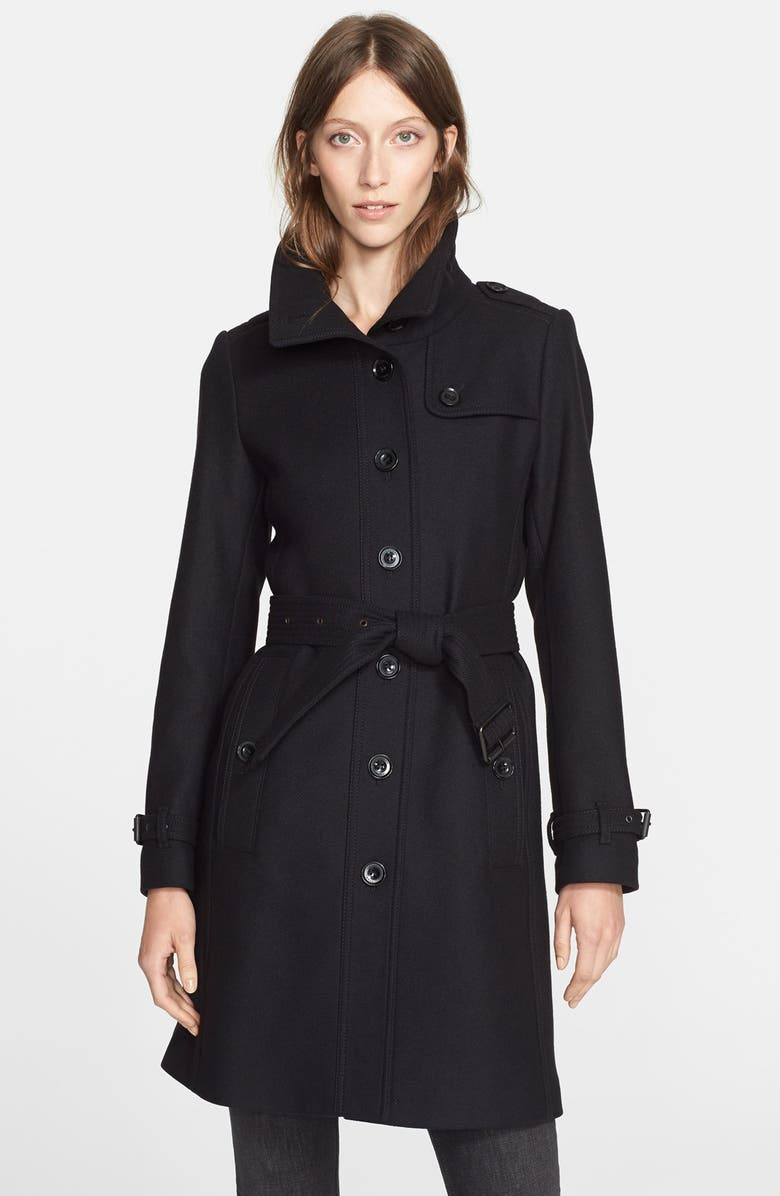 BURBERRY BRIT 'Rushfield' Wool Blend Single Breasted Coat, Main, color, 001