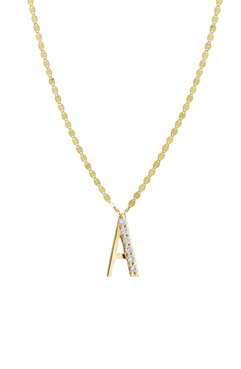 LANA JEWELRY Initial Pendant Necklace, Main, color, YELLOW GOLD- A