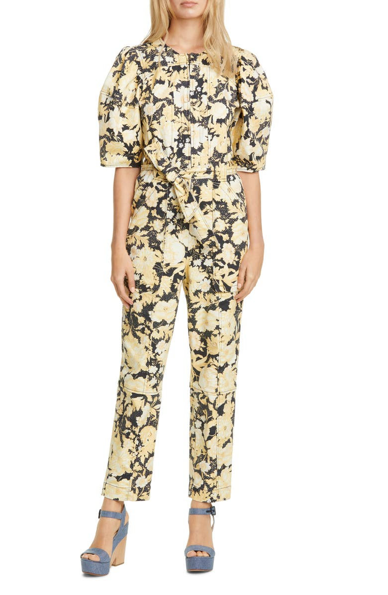 REBECCA TAYLOR Gold Leaf Puff Sleeve Utility Jumpsuit, Main, color, 014