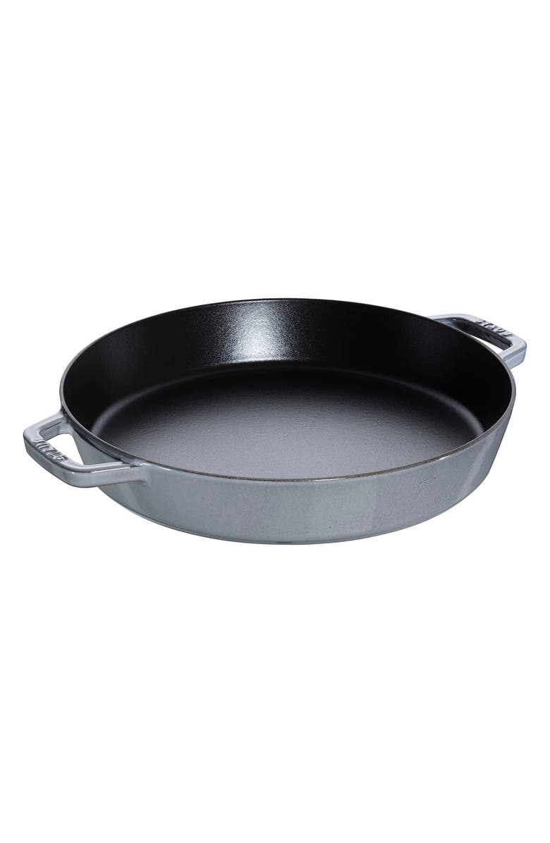 STAUB 13-Inch Enameled Cast Iron Double Handle Fry Pan, Main, color, GRAPHITE