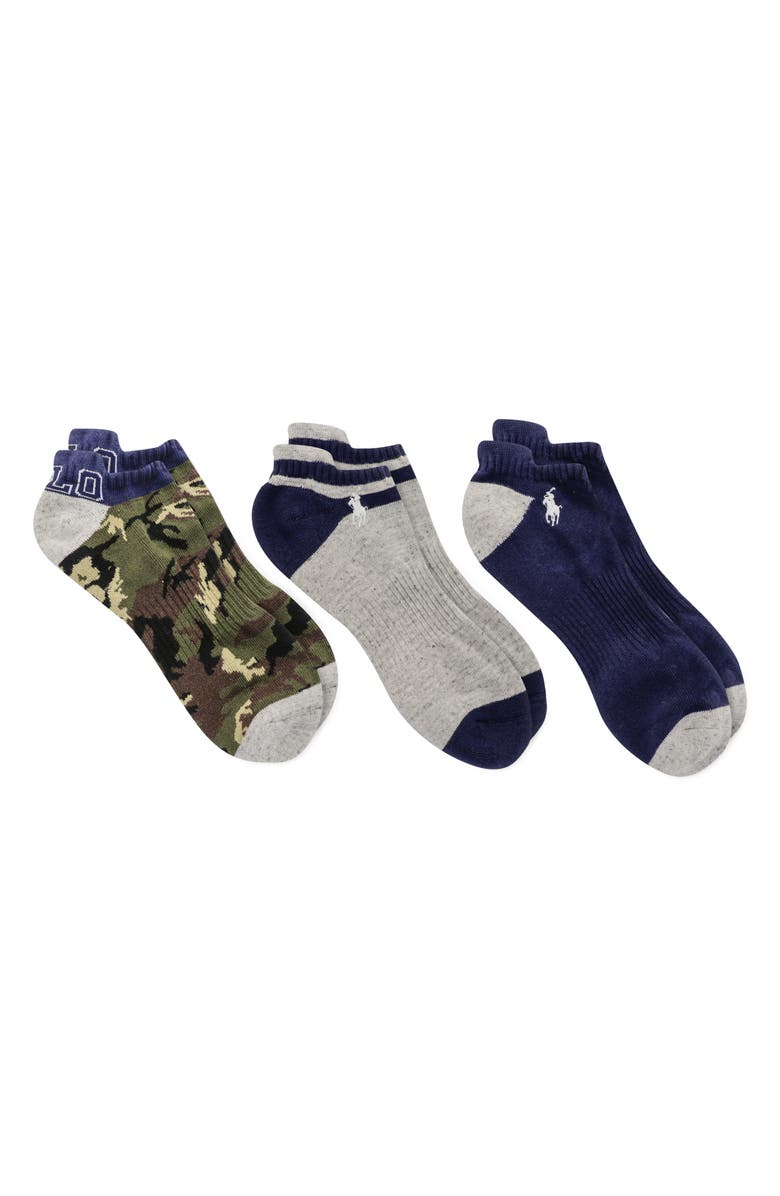 POLO RALPH LAUREN Assorted 3-Pack Camo No-Show Socks, Main, color, ASSORTED