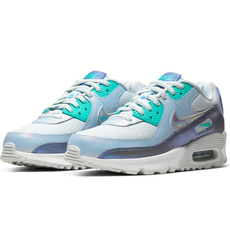 NIKE Kids' Air Max 90 FP Sneaker, Main, color, AURA/ WHITE-SAPPHIRE-GREEN