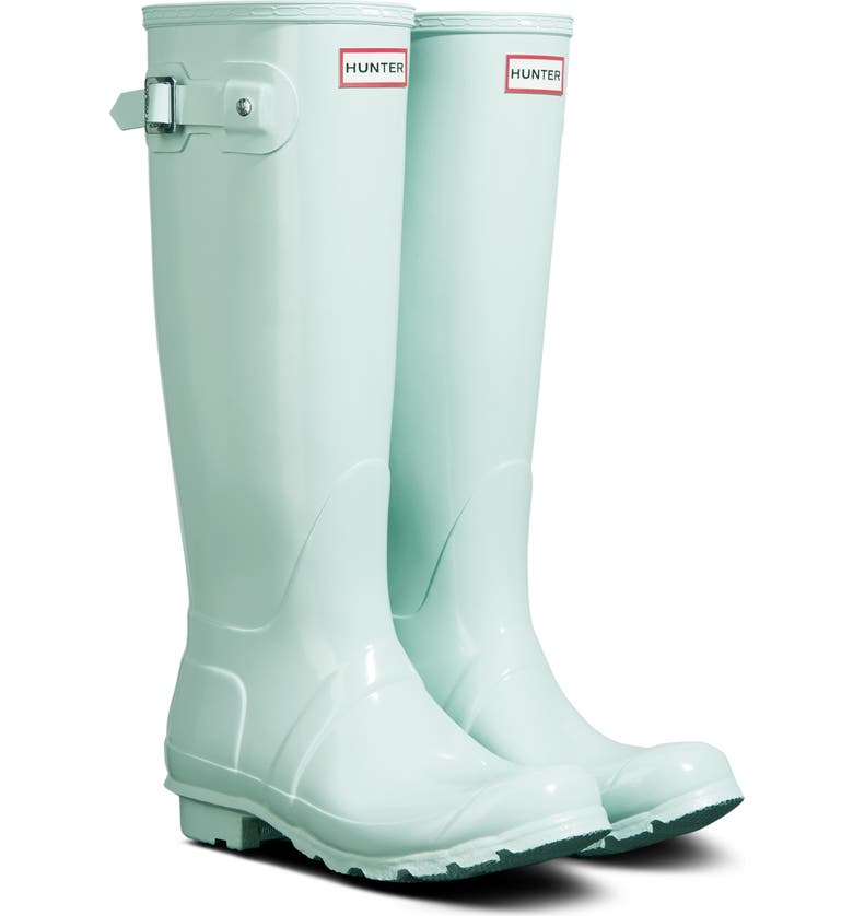 HUNTER Original High Gloss Waterproof Boot, Main, color, SPEARMINT