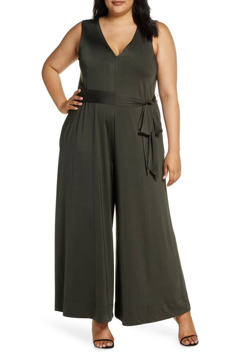 COLDESINA Abi Sleeveless Wide Leg Jumpsuit, Main, color, ARMY