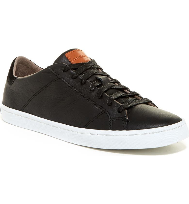 COLE HAAN Mindi Lace-Up Leather Sneaker, Main, color, BLACK