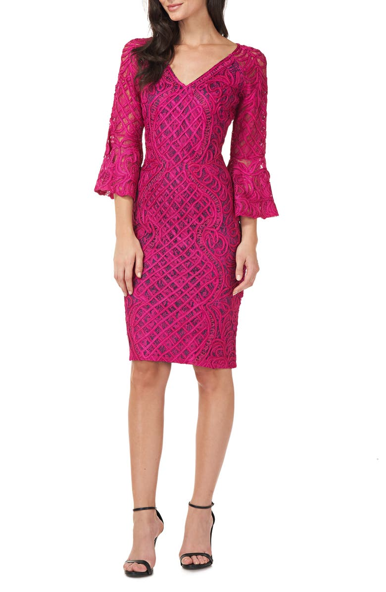 JS COLLECTIONS Bell Sleeve Soutache Cocktail Dress, Main, color, MAGENTA/ MIDNIGHT