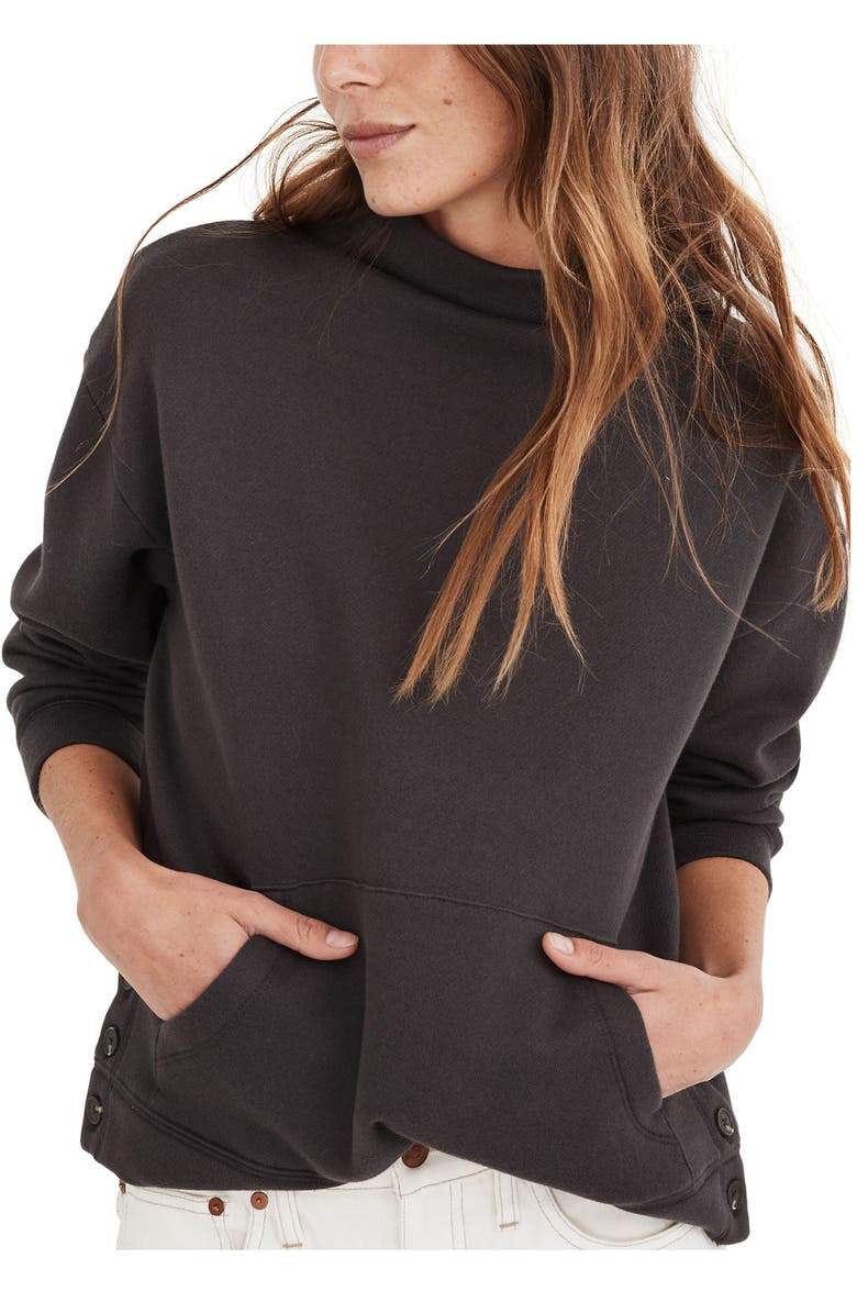 MADEWELL (Re)sourced Cotton Mock Neck Side Button Sweatshirt, Main, color, 017