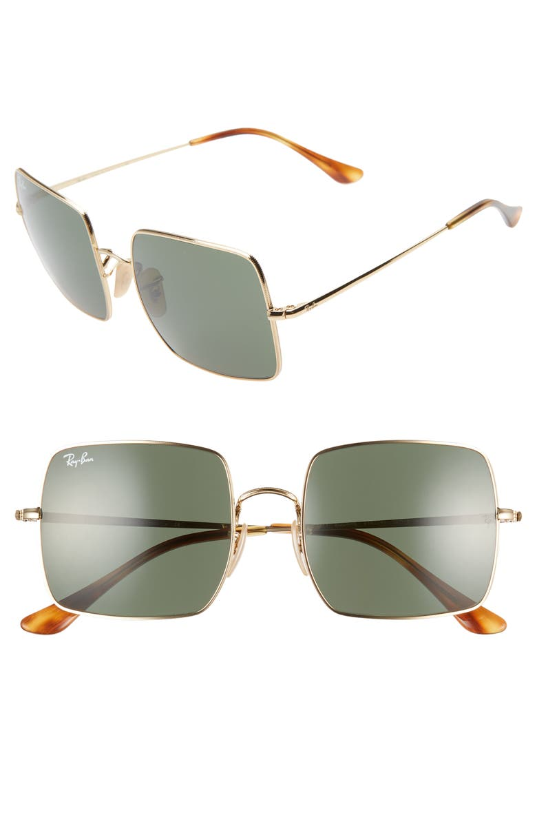 RAY-BAN 54mm Square Sunglasses, Main, color, GOLD/ GREY SOLID