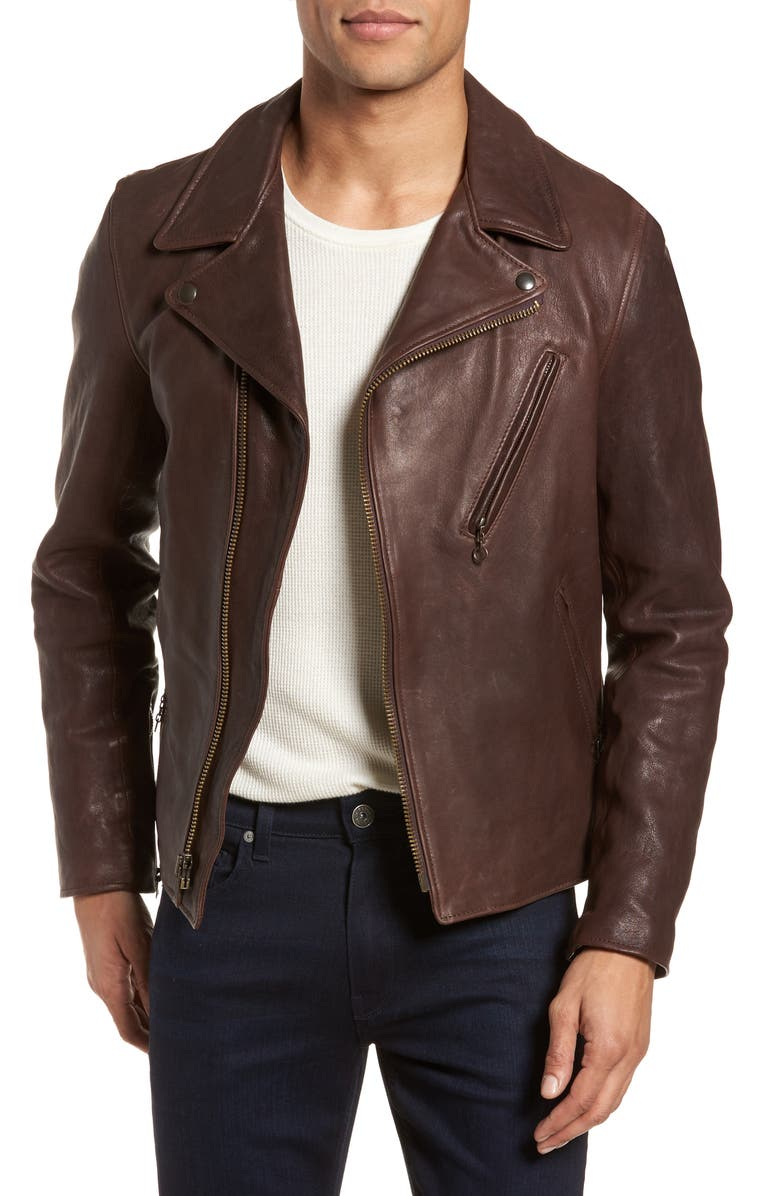 SCHOTT NYC Leather Moto Jacket, Main, color, BROWN