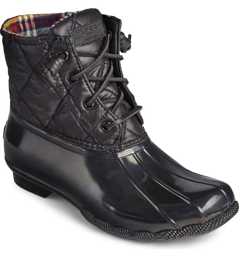 SPERRY Saltwater Nylon Quilted Duck Boot, Main, color, BLACK