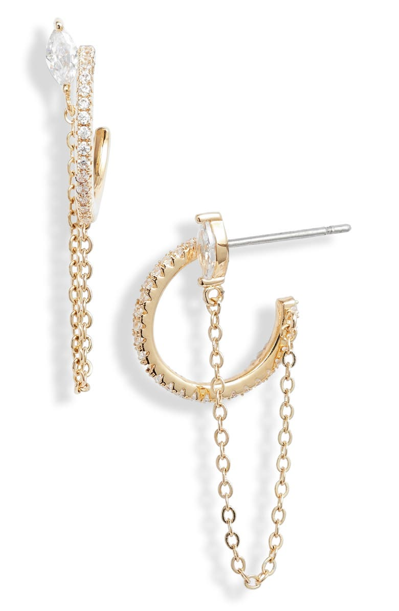 NORDSTROM Chain Drop Pavé Hoop Earrings, Main, color, CLEAR- GOLD