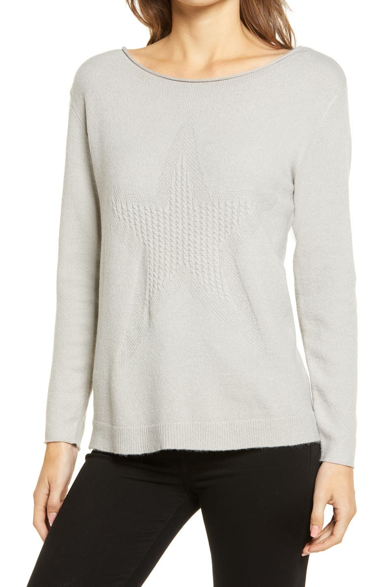 WIT & WISDOM Cable Knit Star Sweater, Main, color, LIGHT GREY