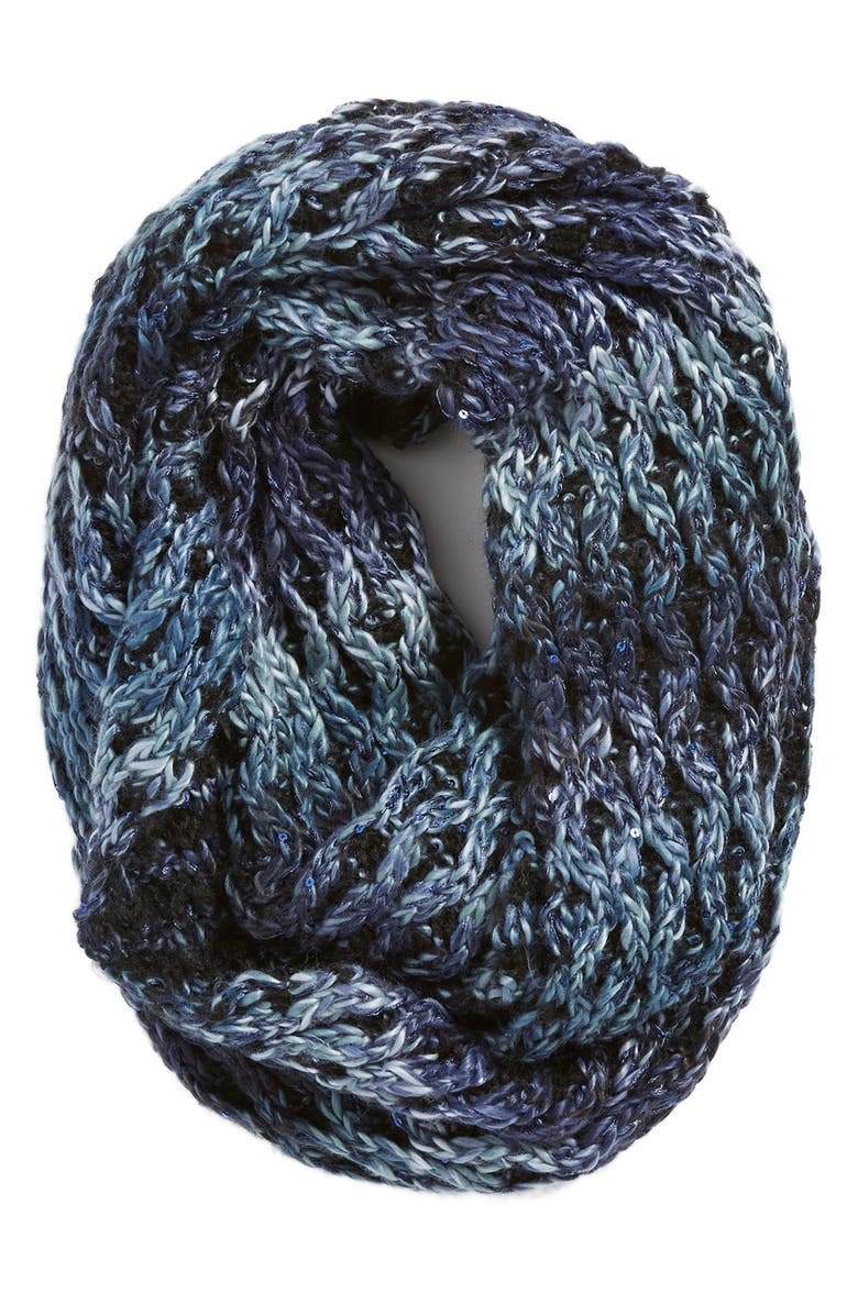 COLLECTION XIIX 'Honeycomb Shine' Knit Infinity Scarf, Main, color, 001